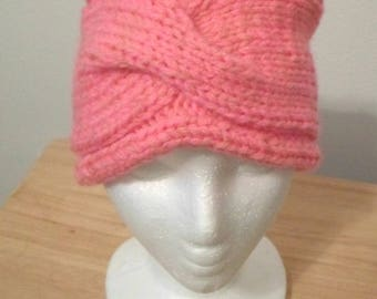 Knitted Headband - Headband knitted in two shapes of Pink with a Cable Pattern in the Front - Women or Girl size M/L