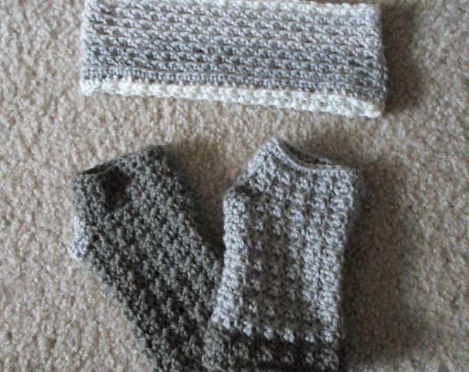 Set with Fingeless Mittens and Headband - Crochet Headband and Fingerless Gloves