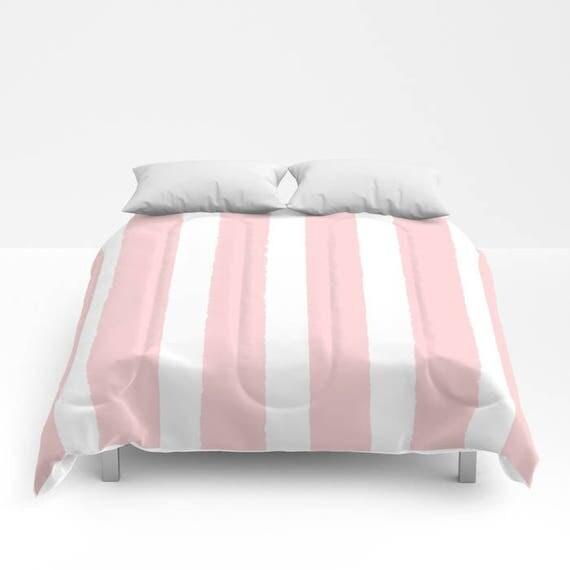 Blush Pink and White Stripe Comforter - Twin Comforter - Queen Comforter - King Comforter - Full Comforter - Twin Comforter Twin XL Bedding
