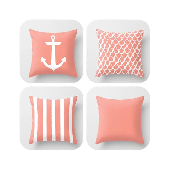 Peach Throw Pillow . Mermaid Pillow . Anchor Pillow . Coastal Pillow . Striped Pillow . Peach cushion . Salmon Throw Pillow 16 18 20 24 inch