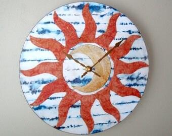 Moon and Sun Wall Clock, Celestial Clock, Moon and Sun Wall Decor, Unique Wall Clock, Funky Clock, Clock for Dorm Room, Moon Clock - 2471