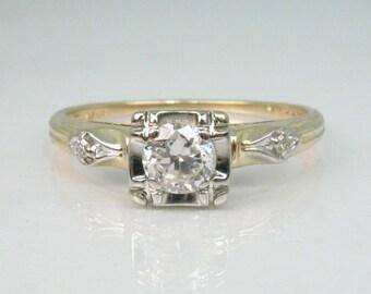 Old European Cut Diamond Engagement Ring - Diamond 3 Stone Ring
