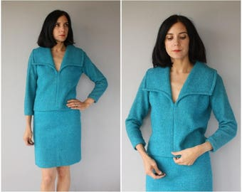 Vintage 1960s Wool Suit | 60s Skirt Suit | 1960s Skirt Set | 1960s wool Skirt Set | 60s Wool Dress 2 Piece - (x-small/small)