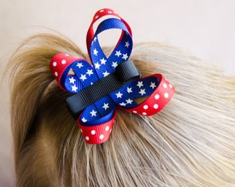 Hair Bow - Star Spangled Butterfly Ribbon Sculpture