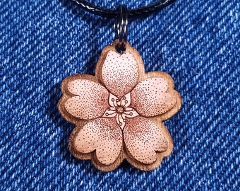Cherry blossom necklace - flower necklace - sakura necklace - asian necklace - japan necklace - art necklace - cute necklace - nature