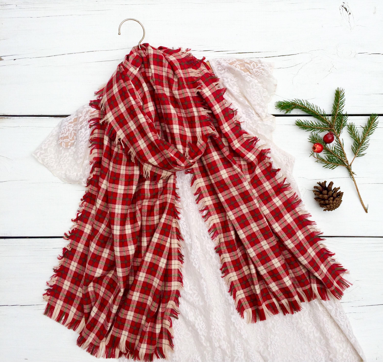 barn red plaid scarf plaid flannel scarf red flannel scarf long scarf - Christmas Plaid Scarf