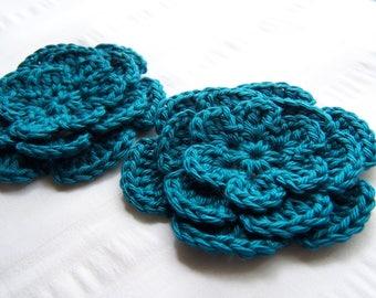 Crochet flower 3 inch Pima cotton teal set of two flower