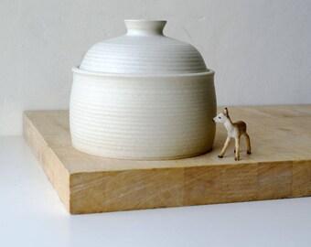 Ceramic barrel shaped kitchen canister - stoneware pottery jar in vanilla cream