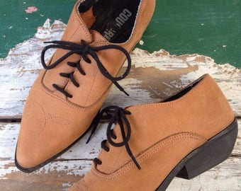 SPRING SALE 90s Shoes, Lace Up Shoes, Cowgirl Booties Size US 7 7.5 Euro 38 Uk 5 Womens Brown Shoes, Lace Up Flats, Winklepickers Hipster Co
