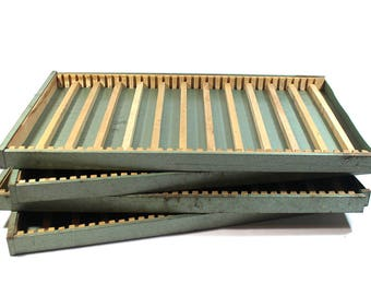 Vintage Letterpress Tray Drawer - Metal and Wood