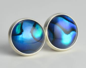 blue abalone paua shell 8mm sterling silver stud earrings pair