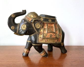 Antique Lucky Elephant Sculpture - Vintage Brass + Copper Inlay on Rosewood Hand Carved Elephant - Heavy + Solid Wood Elephant w Trunk Up