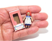 "Dollhouse Miniature Raggedy Ann Doll in Box 1 3/8"" Tiny Doll 1/12 Scale Doll for Your Doll"