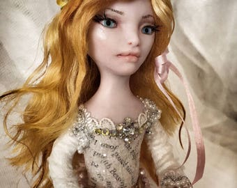 ART DOLL Golden Bird One of a Kind doll Shabby Chic bling lace pearls