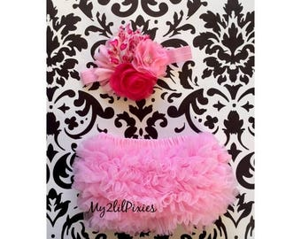 SALE Valentines day set - Baby girl HEADBAND and Ruffle Bum Baby bloomer , pink, red,white, newborn bloomer, cake smash diaper cover, photo