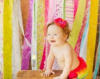 SALE BLOOMERS and HEADBAND, Bloomer, Baby Bloomer, Diaper Cover,Ruffle Bum Baby Bloomer and Baby Girl Headband -Photo Prop Set- My2lilPixies