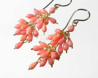 Pink Coral Earrings Coral Pink Earrings Pink Cluster Earrings Pink Cascade Earrings Gold Filled
