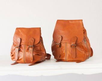 Backpack in brown leather for women, back bag everyday back pocket purse knapsack - Mini Artemis backpack