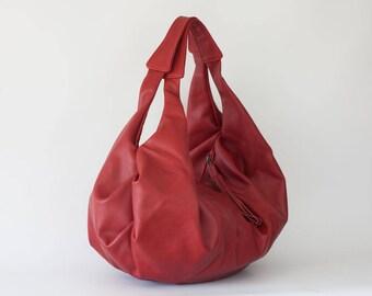 Red leather bag, large hobo bag shoulder purse soft leather bag hobo carryall bag weekend sling - Kallia bag