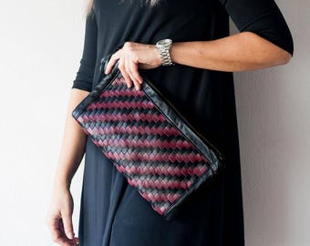 Handwoven patterned burgundy and black leather clutch purse, flat rectangular clutch handbag womens evening clutch bag - The Leto clutch