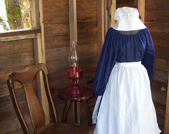 Custom Size Ladies Colonial Dress Costume Civil War Pioneer Prairie -New Dress, Apron and Bonnet