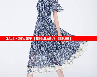 printed dress, chiffon dress, short sleeves dress, summer dress, elegant dress, flare dress, romantic dress, party dress, womens dresses1752