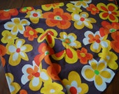 "vintage retro mod floral tablecloth - oblong - 70"" by 66"" - brown - orange - yellow - green - white - fondue night:)"