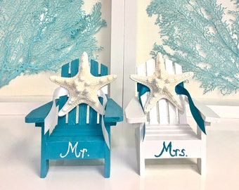 Beach Wedding Cake Topper - 2 Mini Adirondack Chairs with Starfish -  8 Chair Colors - 24 Ribbon Colors - Mr. and Mrs. or First Names