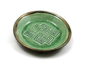 Raku Pottery Buddhist/Celtic Endless Knot Bowl