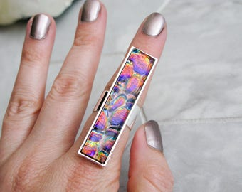 large dichroic glass ring, rectangle glass cocktail ring, multicoloured glass statement ring, avant garde costume jewelry, gift for her