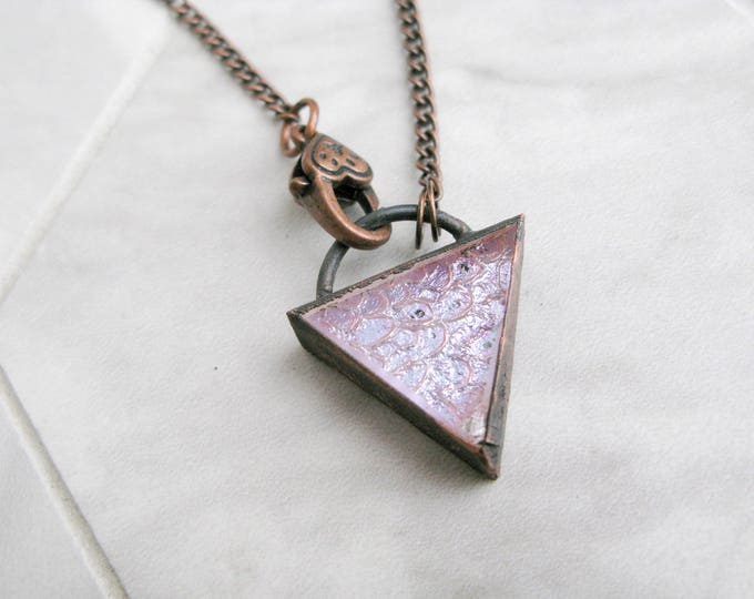 Glass Pendant Statement necklace Goddess necklace Fused Glass Pendant Modern Jewelry purple triangle Electroformed Copper Necklace