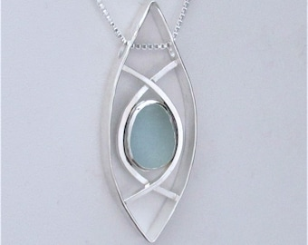 Sea Glass Jewelry - Sterling Blue Sea Glass Necklace