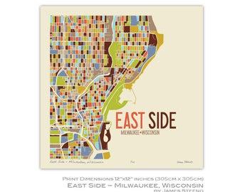 East Side, Milwaukee, Wisconsin Neighborhood Art Map Print by James Steeno