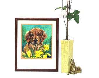 Vintage Painting of Dog and Daffodils