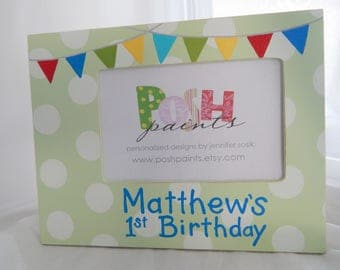 SALE, birthday banner frame, lavender and gray, hand painted 4x6 photo frame