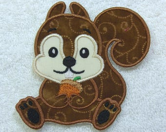 Squirrel Patch Fabric Embroidered Iron On Applique Patch Ready to Ship