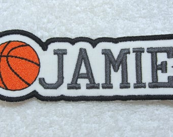 Name Patch with Basketball Personalized Single Name Patch Fabric Embroidered Iron On Applique Patch MADE TO ORDER
