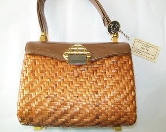 SALE - Vintage Koret Handbag, 1960s, straw, patent leather, brown, original tag, purse, hand bag