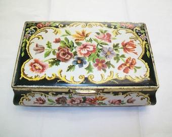 Vintage Biscuit Tin, Floral, storage, box, 1960s
