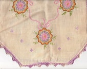 1 EMBROIDERED Purple Varigater Dresser SCARF, Hand Crafted, Framed Wall Art, Shabby Chic, Victorian, DiY, Craft Supply, Home Decor, Accents