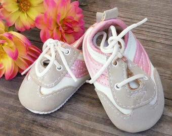 1 Pair TIE SNEAKERS Pink, Grey and White, 18 inch Doll, , Sneakers, Doll Sandals, Animal Shoes, Stuffed Toys, Doll Accessory