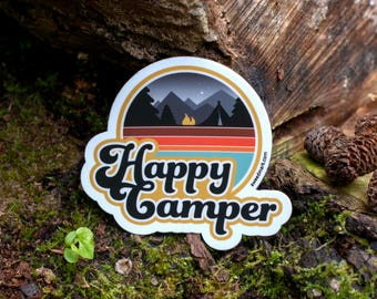 HAPPY CAMPER : Outdoorsy Stickers, Camplife, Campfire, Outdoorsy Decals, Stickers, Camping, Die Cut, EDC