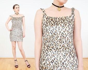 90s Dress | Leopard Dress | Cheetah Dress | Body Con Velvet Mini Dress | Animal Print Dress | Stretch Velvet | Frederick's of Hollywood | M