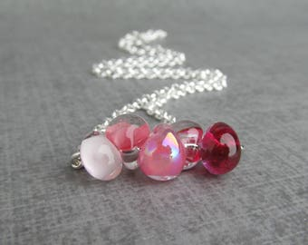 Ombre Pink Necklace, Blush Pink Fuchsia Orchid Pink, Pink Glass Drop Necklace, Lampwork Necklace, Sterling Silver Necklace Pink Carnation