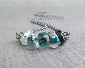 Ombre Teal Green Necklace, Lampwork Necklace, Teal Necklace, Dark Aqua Necklace, Pearly Seafoam Necklace, Oxidized Necklace Sterling Silver
