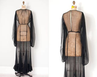 vintage 1930s gown /  30s black sheer chiffon gown  / balloon sleeves (small medium s m)