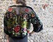 Kimono Peacock Tassel Jacket Fringed Bohemian Velvet Black Handmade