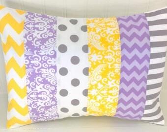 Nursery Decor, Cushion Cover, Pillow Cover, Baby Girl, Home Decor, Throw Pillows, Decorative Pillows, 12 x 16, Lavender Purple Gray Yellow