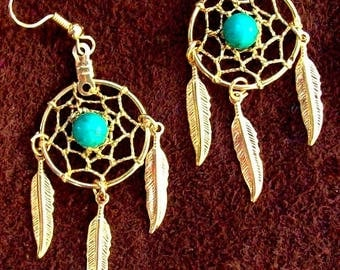 SALE Gold earrings with Turquoise and three feathers