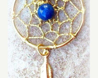 SALE Dream catcher necklace, Lapis Gold necklace w/ feather lapis Necklace featuring a one inch- web with lapis